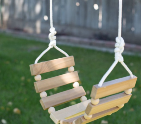 DIY garden swing from planks and beads
